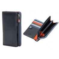 Skórzany portfel damski marki DuDu®, granat + pomarańczowy