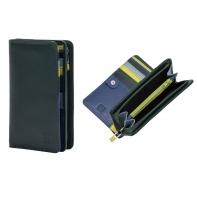 Skórzany portfel damski marki DuDu®, zielony + niebieski