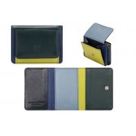 Skórzany mały portfel damski marki DuDu®, zielony + niebieski