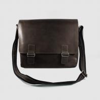 Skórzana torba z klapą na ramię na laptopa, A4, ciemno brązowa