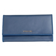Klasyczny portfel damski Puccini lakierowany, kolekcja Calypso, niebieski
