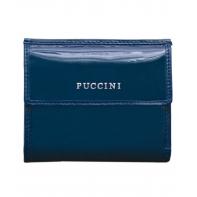 Portfel damski skórzany Puccini lakierowany, kolekcja Calypso, niebieski