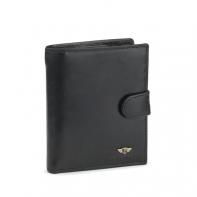 Męski duży skórzany portfel z zapięciem marki Peterson, czarny, RFID