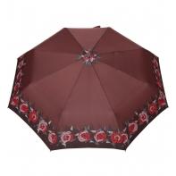 Automatyczna parasolka damska marki Parasol, brązowa w róże