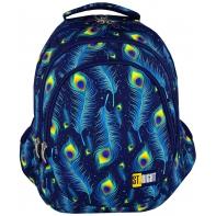 Trzykomorowy plecak szkolny St.Right 27 L, Peacock