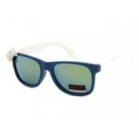 Okulary przeciwsłoneczne dziecięce UV 400, z KOKARDKĄ granatowo-białe