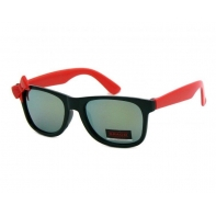 Okulary przeciwsłoneczne dziecięce UV 400, z KOKARDKĄ czarno-czerwone