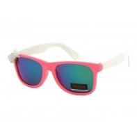 Okulary przeciwsłoneczne dziecięce UV 400, z KOKARDKĄ różowo-białe