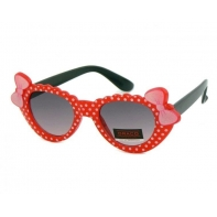 Okulary przeciwsłoneczne dziecięce UV 400 GROSZKI, czerwono-czarne