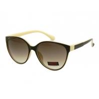 Okulary przeciwsłoneczne damskie UV 400 CIENIOWANE BRĄZOWY + KREMOWY