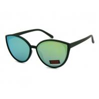 Okulary przeciwsłoneczne damskie UV, CZARNE + zielone LUSTRZANKI