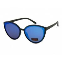 Okulary przeciwsłoneczne damskie UV, CZARNE + niebieskie LUSTRZANKI