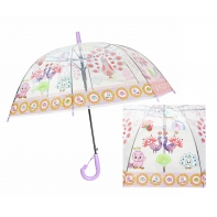Automatyczna - przezroczysta głęboka parasolka dziecięca, pawie