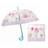 Automatyczna - przezroczysta głęboka parasolka dziecięca, syrenka