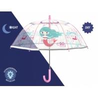 Dziecięca głęboka parasolka z odblaskową lamówką, SYRENKI