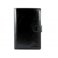 Duży zapinany skórzany portfel męski Wittchen, kolekcja: Italy, czarny