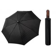 Automatyczna MOCNA parasolka XXL Doppler 125 cm CZARNA W PASKI
