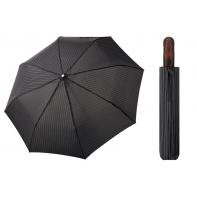 Automatyczna MOCNA parasolka XXL Doppler 125 cm CZARNA W PASECZKI