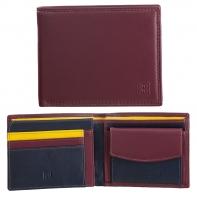 Skórzany poziomy portfel męski DuDu®, 534-473 BURGUNDOWY