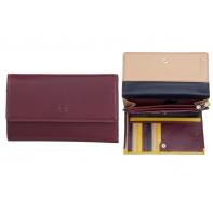Skórzany pojemny portfel damski DuDu®, 534-755 BURGUNDOWY