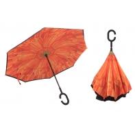 """Parasol odwrócony """"Revers"""" z podwójnym materiałem POMARAŃCZOWY KWIAT"""