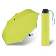 Niewielka, lekka parasolka BENETTON, żółto - seledynowa