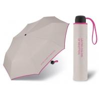 Niewielka, lekka parasolka BENETTON, szaro - różowa