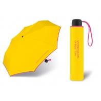 Niewielka, lekka parasolka BENETTON, żółto - różowa