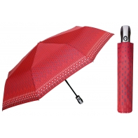 Automatyczna parasolka damska marki Parasol, czerwona w granatowe kreski