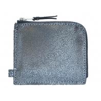 Skórzany mały super cienki portfel na suwak Orsatti srebrny