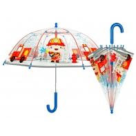 Parasolka dziecięca przezroczysta Perletti z odblaskową lamówką - strażak