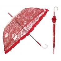 Głęboka przezroczysta parasolka damska z falbanką, koronka CZERWONA