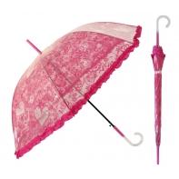 Głęboka przezroczysta parasolka damska z falbanką, koronka RÓŻOWA