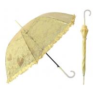 Głęboka przezroczysta parasolka damska z falbanką, koronka ŻÓŁTA