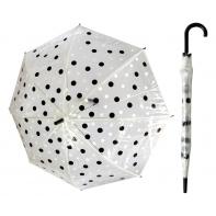 Przezroczysta parasolka w biało-czarne grochy