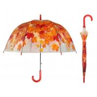 Przezroczysta parasolka w jesienne zielone liście