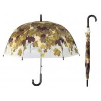 Przezroczysta parasolka w jesienne czerwone liście