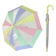 Przezroczysta pastelowa parasolka dziecięca z żółtą rączką