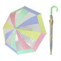 Przezroczysta pastelowa parasolka dziecięca z zieloną rączką