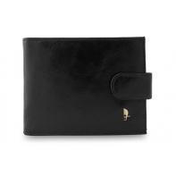 Męski poziomy portfel Puccini P20439 w kolorze czarnym z zapięciem