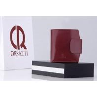 Nieduży portfel damski Orsatti D-04D w kolorze bordowym, skóra